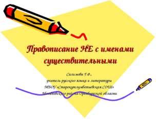 Правописание НЕ с именами существительными Салимова Г.Ф., учитель русского яз
