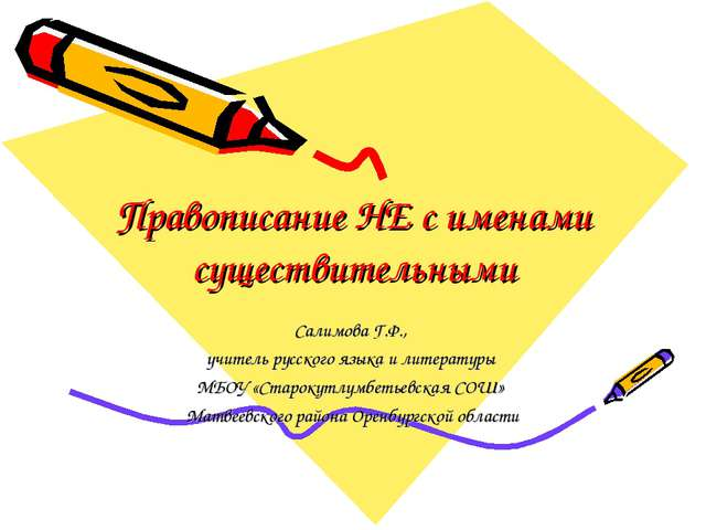 Правописание НЕ с именами существительными Салимова Г.Ф., учитель русского яз...