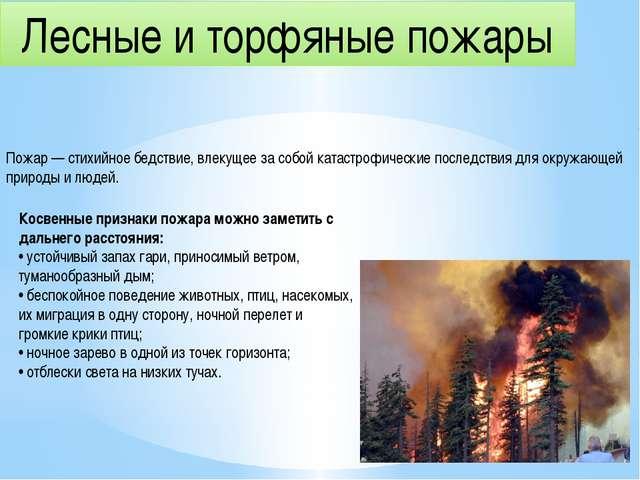 Лесные и торфяные пожары Пожар — стихийное бедствие, влекущее за собой катаст...