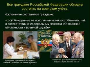 Все граждане Российской Федерации обязаны состоять на воинском учёте. Исключе