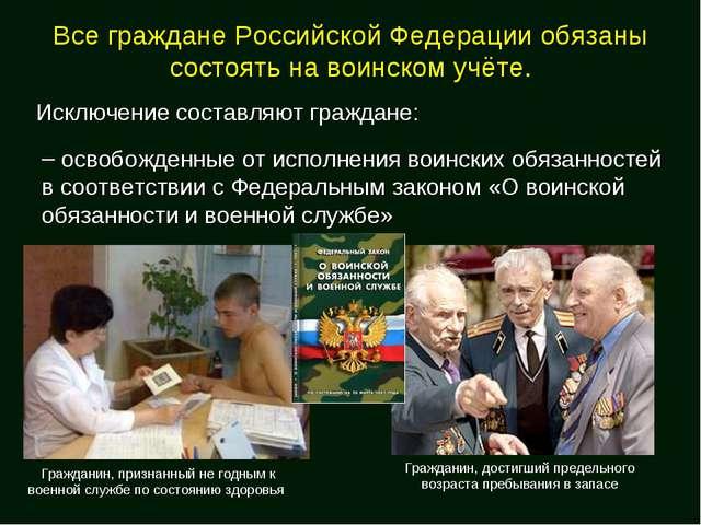 Все граждане Российской Федерации обязаны состоять на воинском учёте. Исключе...