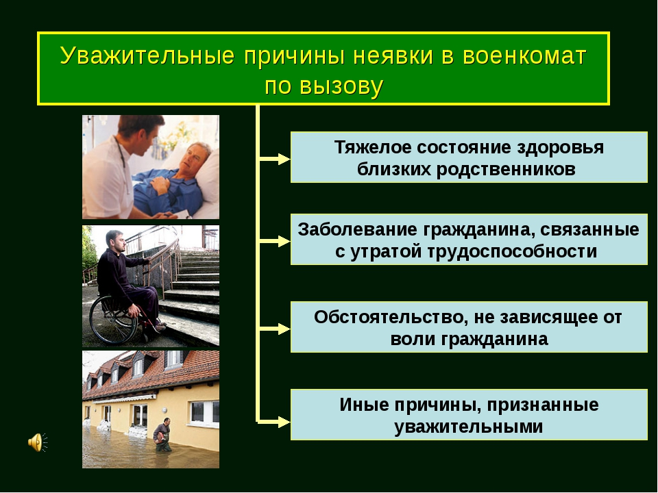 Уважительные причины неявки в военкомат по вызову Тяжелое состояние здоровья...