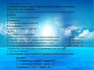 1. Гидросфера состоит из ….? а) поверхности вод суши и Мирового океана, воды