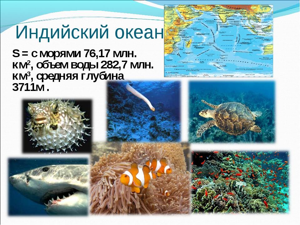 Индийский океан. S = с морями 76,17 млн. км2, объем воды 282,7 млн. км3, сред...