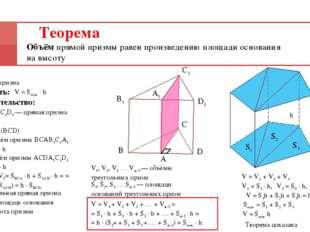 Теорема Объём прямой призмы равен произведению площади основания на высоту Да