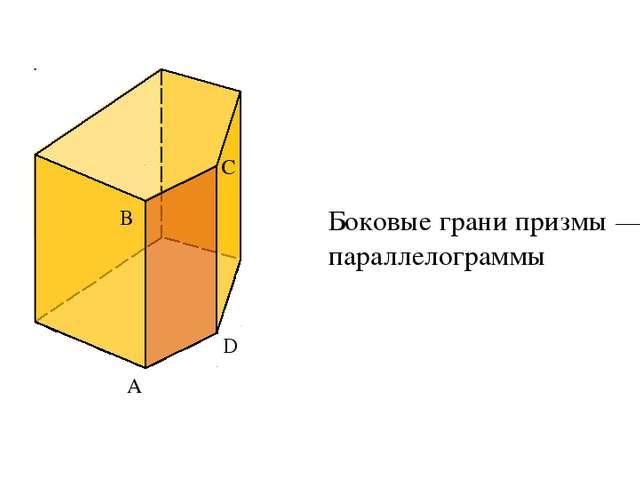 А B C D Боковые грани призмы — параллелограммы