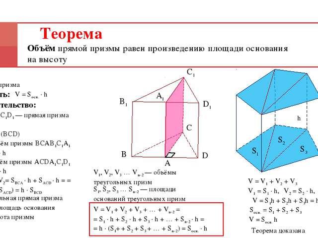 Теорема Объём прямой призмы равен произведению площади основания на высоту Да...