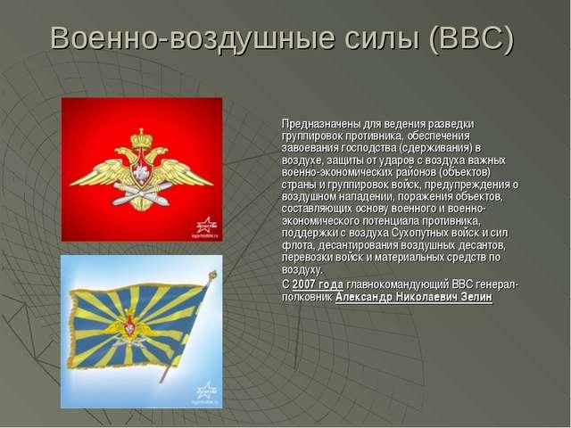 Военно-воздушные силы (ВВС) Предназначены для ведения разведки группировок пр...