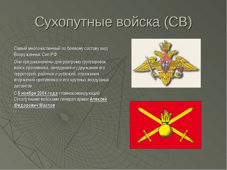 Сухопутные войска (СВ) Самый многочисленный по боевому составу вид Вооруженны...
