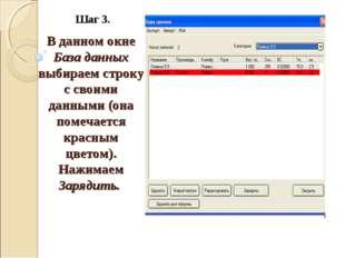 Шаг 3. В данном окне База данных выбираем строку с своими данными (она помеча