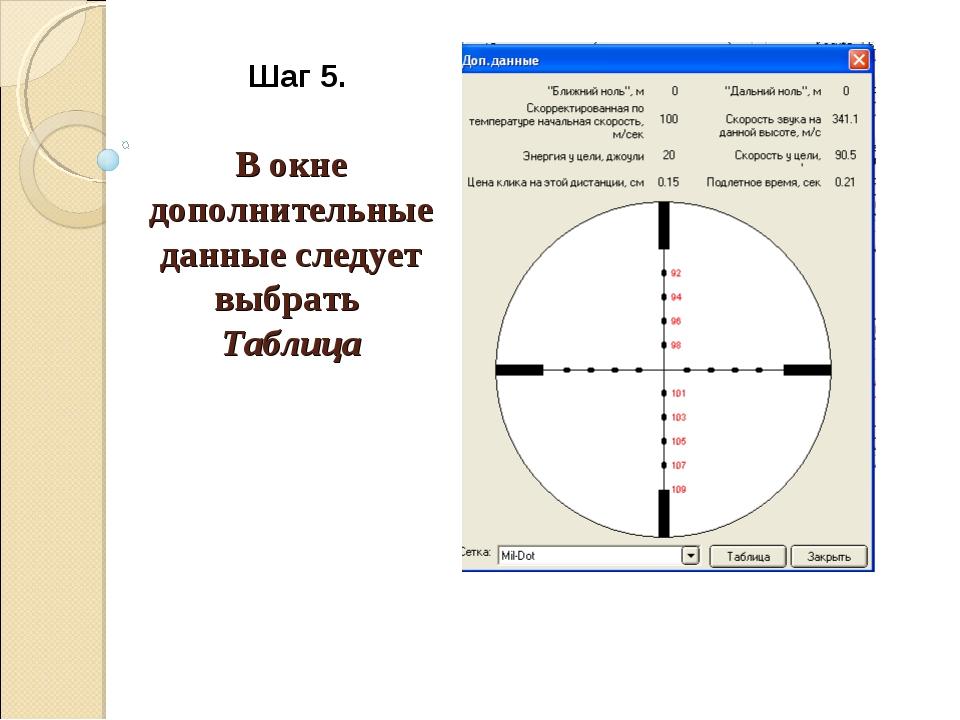 Шаг 5. В окне дополнительные данные следует выбрать Таблица