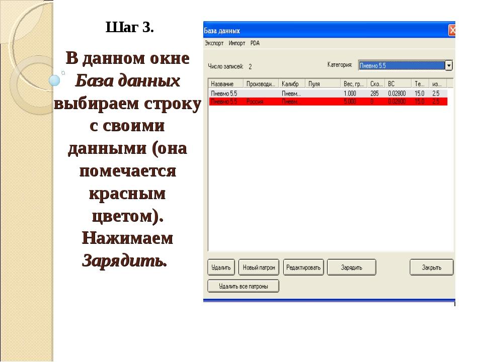 Шаг 3. В данном окне База данных выбираем строку с своими данными (она помеча...