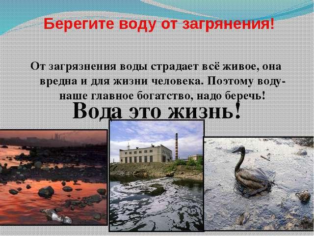 От загрязнения воды страдает всё живое, она вредна и для жизни человека. Поэ...