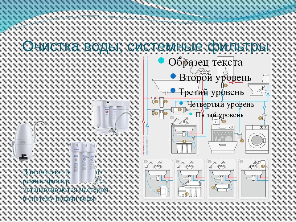 Очистка воды; системные фильтры Для очистки используют разные фильтры, которы...