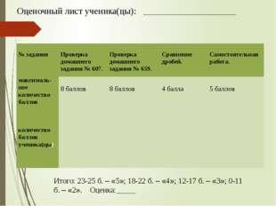 Оценочный лист ученика(цы): __________________________________ Итого: 23-25 б