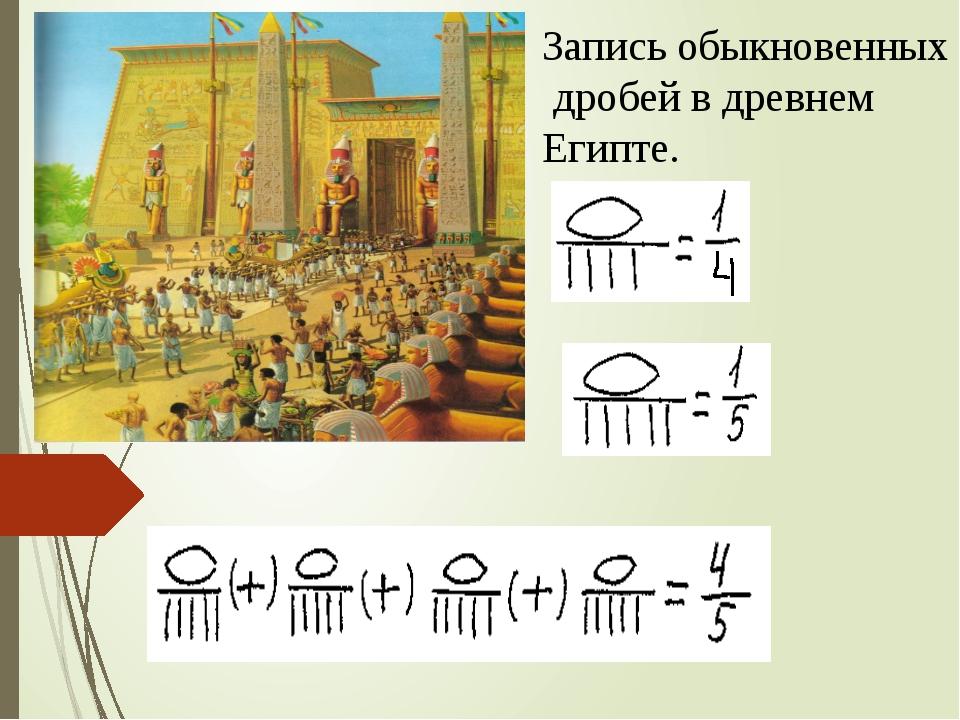 Запись обыкновенных дробей в древнем Египте.