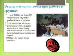Этапы изучения темы при работе в группах  В.В. Пасечник выделил четыре эт
