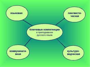 Ключевые компетенции в преподавании русского языка языковая лингвисти-ческая