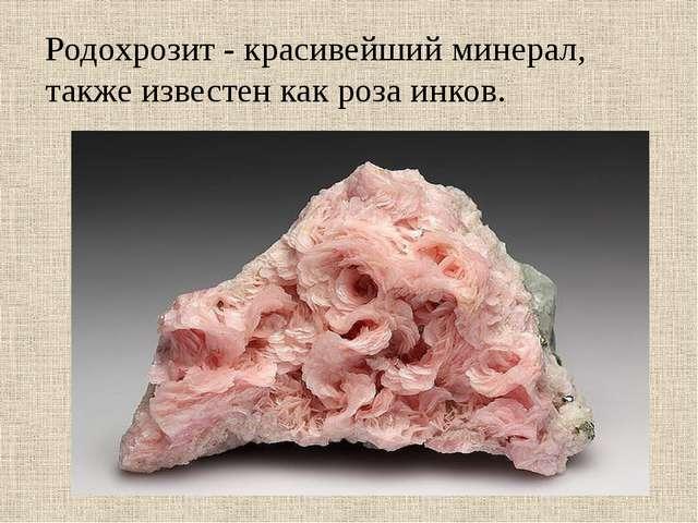 Родохрозит - красивейший минерал, также известен как роза инков.