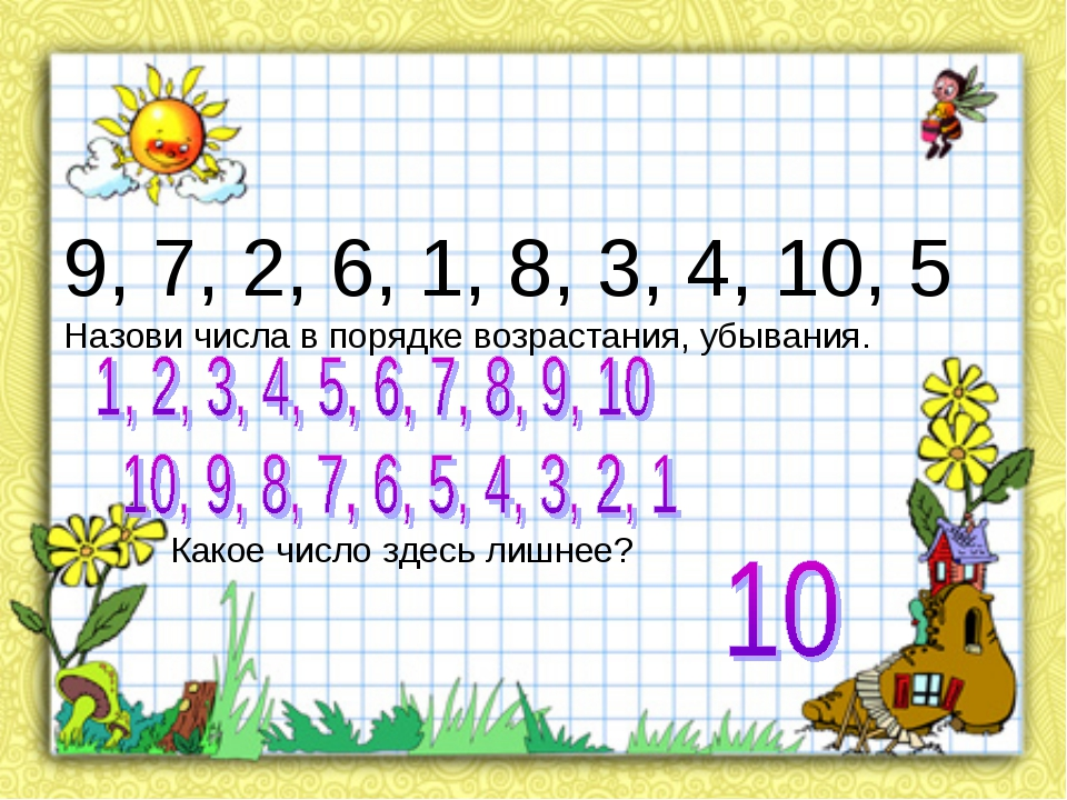 9, 7, 2, 6, 1, 8, 3, 4, 10, 5 Назови числа в порядке возрастания, убывания....