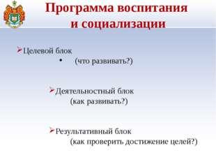Программа воспитания и социализации Целевой блок (что развивать?) Деятельно