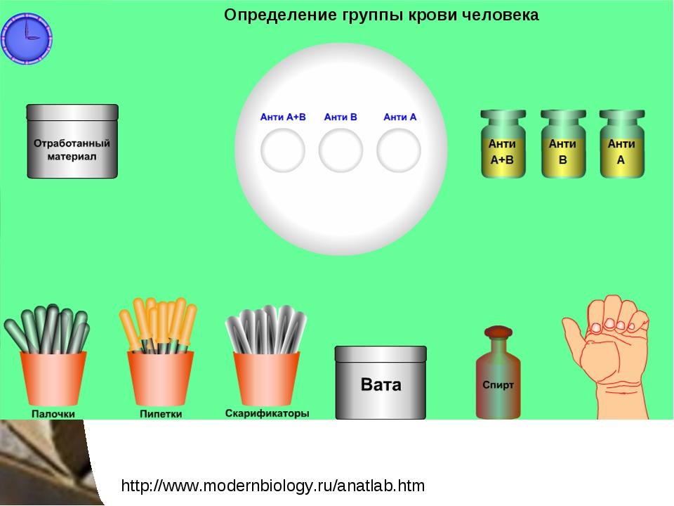 http://www.modernbiology.ru/anatlab.htm Определение группы крови человека