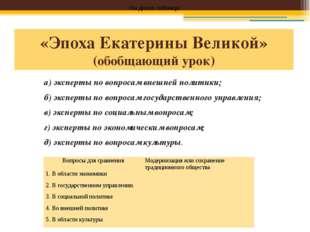 «Эпоха Екатерины Великой» (обобщающий урок) а) эксперты по вопросам внешней п