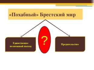 «Похабный» Брестский мир Предательство Единственно возможный выход ?
