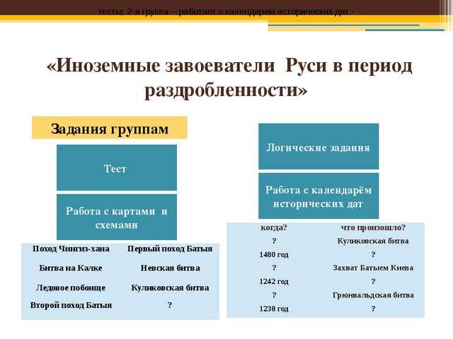 «Иноземные завоеватели Руси в период раздробленности» тесты; 2-я группа – раб...