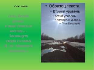 «Уж тает снег, бегут ручьи, в окно повеяло весною… Засвищут скоро соловьи И
