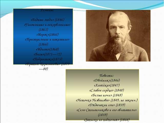 Романы: «Бедные люди» (1846) «Униженные и оскорбленные» (1861) «Игрок»(1866...