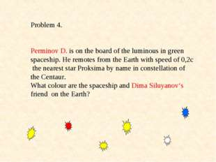 Problem 4. Perminov D. is on the board of the luminous in green spaceship. He