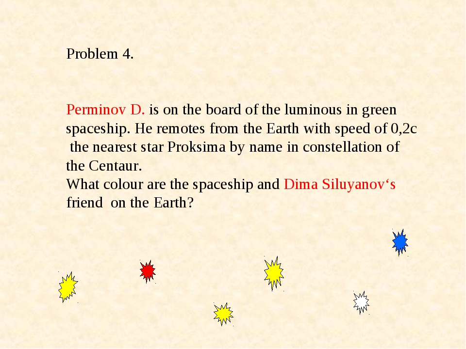 Problem 4. Perminov D. is on the board of the luminous in green spaceship. He...