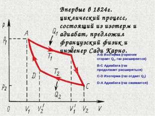 Впервые в 1824г. циклический процесс, состоящий из изотерм и адиабат, предлож