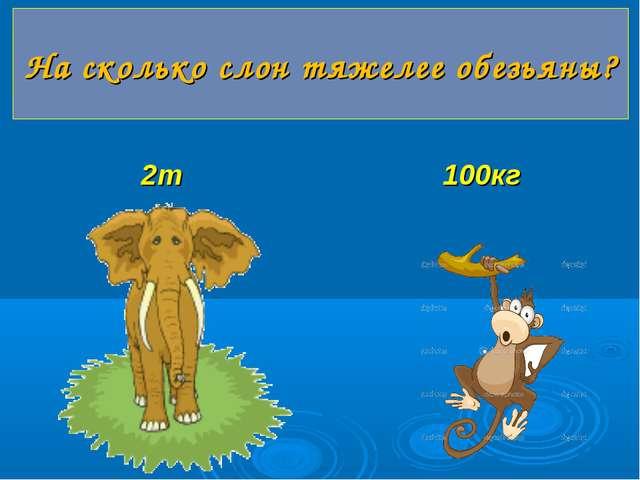 2т 100кг На сколько слон тяжелее обезьяны?