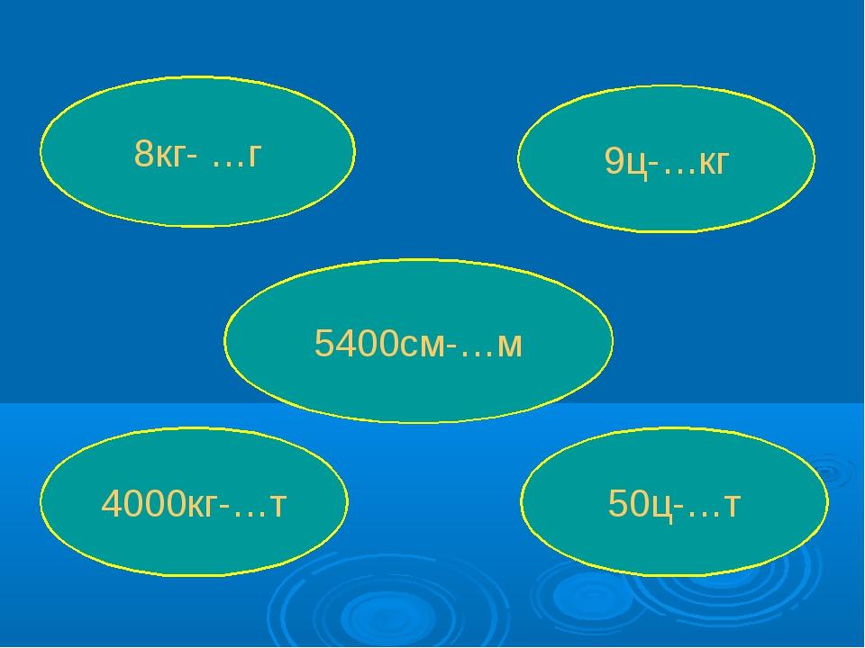8кг- …г 5400см-…м 9ц-…кг 4000кг-…т 50ц-…т