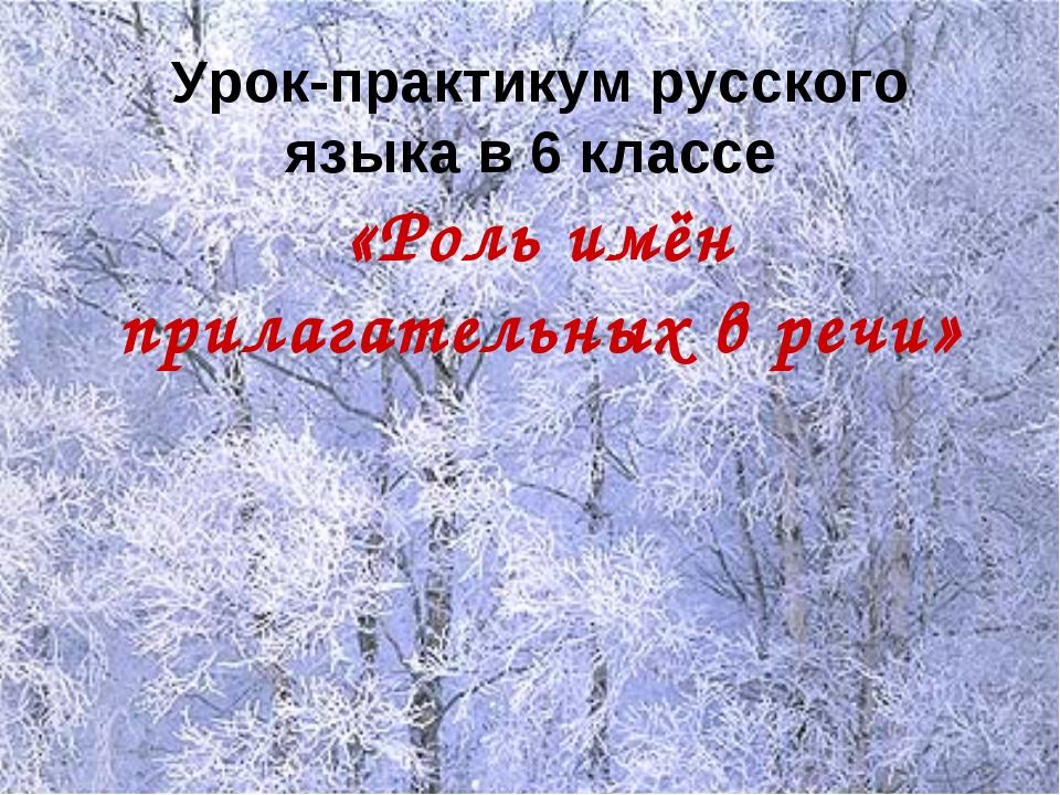 Урок-практикум русского языка в 6 классе «Роль имён прилагательных в речи»