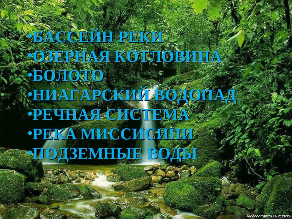 БАССЕЙН РЕКИ ОЗЕРНАЯ КОТЛОВИНА БОЛОТО НИАГАРСКИЙ ВОДОПАД РЕЧНАЯ СИСТЕМА РЕКА...