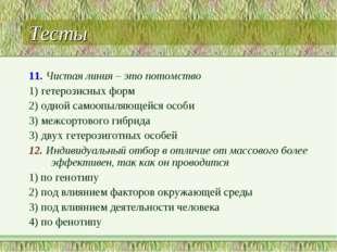 Тесты 11. Чистая линия – это потомство 1) гетерозисных форм 2) одной самоопыл