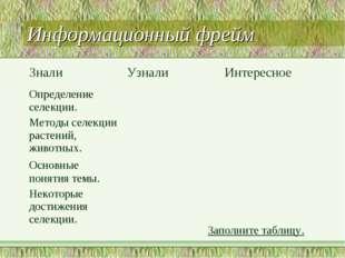 Информационный фрейм Заполните таблицу. ЗналиУзнали Интересное Определение