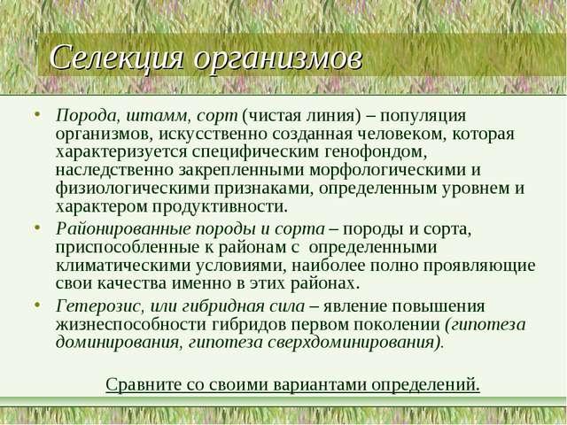 Селекция организмов Порода, штамм, сорт (чистая линия) – популяция организмов...