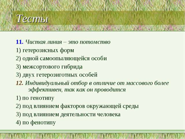 Тесты 11. Чистая линия – это потомство 1) гетерозисных форм 2) одной самоопыл...
