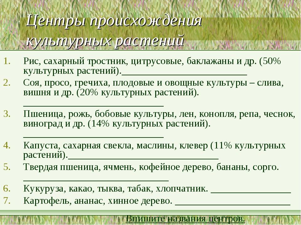 Центры происхождения культурных растений Рис, сахарный тростник, цитрусовые,...