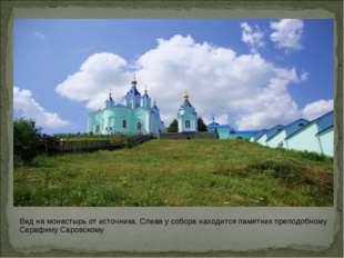 Вид на монастырь от источника. Слева у собора находится памятник преподобному
