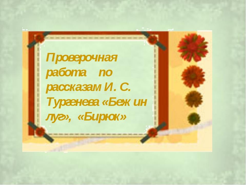 Проверочная работа по рассказам И. С. Тургенева «Бежин луг», «Бирюк»