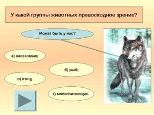 У какой группы животных превосходное зрение? а) насекомых; б) рыб; в) птиц; г