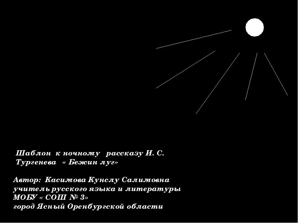 Шаблон к ночному рассказу И. С. Тургенева « Бежин луг» Автор: Касимова Кунслу...