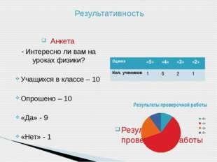 Результативность Анкета - Интересно ли вам на уроках физики? Учащихся в класс