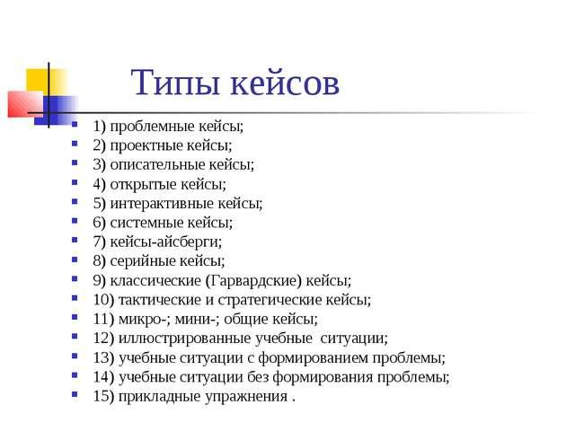 Типы кейсов 1) проблемные кейсы; 2) проектные кейсы; 3) описательные кейсы; 4...
