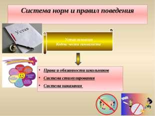 Система норм и правил поведения Права и обязанности школьников Система стимул